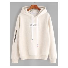 Beige Letter Embroidery Patch Sleeve Zip Detail Drawstring Hoodie ($18) ❤ liked on Polyvore featuring tops, hoodies, pink hoodies, sleeve hoodie, embroidery top, drawstring top and sweatshirt hoodies