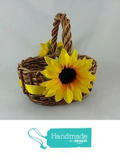 Sunflower Flower Girl Basket, Country Rustic Wedding Decor Handmade in USA from Darlene's Gift Shop