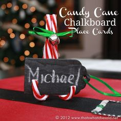 Full tutorial on how to make sweet candy cane place cards that can also easily adapt to napkin rings!