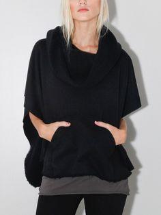funnel neck poncho black - Funnel neck poncho in black by OAK