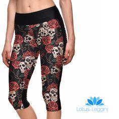 SKULLS AND ROSES ATHLETIC CAPRI – Lotus Leggings