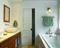 White + Wood Bathroom + 5 Panel Door