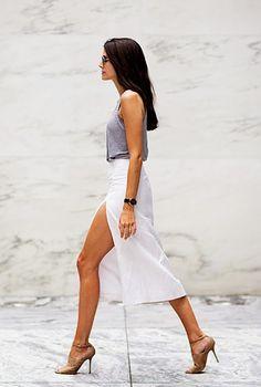 Slit skirt, grey tank. Legs.