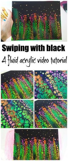 Swipingn with black paint to create a high contrast acrylic fluid painting - video tutorial