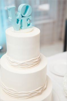 Tiffany Blue Wedding Cake / white and tiffany blue wedding cake with LoVe topper Gorgeous Cakes, Pretty Cakes, Amazing Cakes, Blue Beach Wedding, Dream Wedding, Wedding Day, Elegant Wedding, Wedding Photos, Wedding Reception