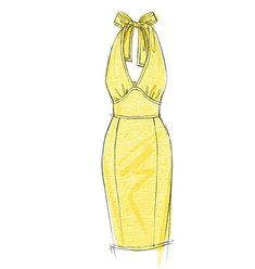 Create these beautiful flowing dresses with a deep v-neckline using this pattern designed for sateen, lightweight linen and lace fabric. The dress is close-fitting with some versions of the design including a halterneck. Dress Design Drawing, Dress Design Sketches, Fashion Design Sketchbook, Fashion Design Drawings, Fashion Sketches, Dress Designs, Fashion Figure Drawing, Fashion Drawing Dresses, Fashion Illustration Dresses