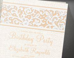 Peach Rustic Lace Birthday Party Invitation
