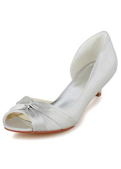 Elegant Satin Upper Peep Toe Mid-low Heels Bridal Shoes