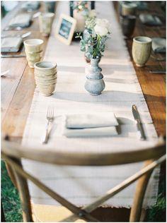 Simple farm table setting.  #farmtablesetting #weddingdetails