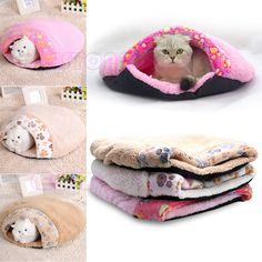 Pet Bed House Cave Igloo Pouch Mat Cat Dog Sleeping Bag Warm Snuggle Sack Hot #Unbranded