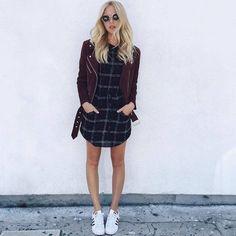 Le Fashion Blog 25 Ways To Wear Adidas Sneakers Suede Burgundy Moto Jacket Plaid Dress Superstar Shea Marie Via Peaceloveshea