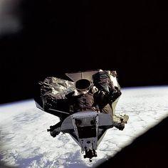 "Apollo 9 Lunar Module ""Spider"" being flown by Jim McDivitt and Rusty Schweikart. Photographed by Dave Scott from comman module ""Gumdrop"""