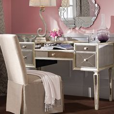 Borghese Lady Mirrored Furniture, Large Furniture, Home Decor Furniture, Living Room Furniture, Mirrored Desk, Office Furniture, Desk In Living Room, Bedroom Desk, Glam Room
