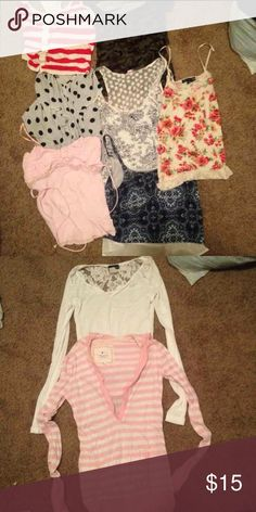 9 t-shirt lot All are small or xs. I just never wear these any more! Brands: wet seal, forever 21, American eagle Tops