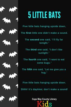 A fun bat counting rhyme! Great for nighttime, animals, and Halloween themes! Kindergarten Songs, Preschool Music, Fall Preschool, Preschool Classroom, Preschool Learning, Preschool Activities, Montessori Elementary, Halloween Activities, Halloween Themes