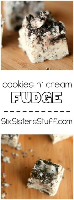Cookies n' Cream Fudge from SixSistersStuff.com. This is so easy and delicious!