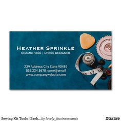 Sewing Kit Tools   Backdrop Business Card Magnet