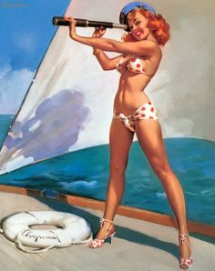Splendid View (Out to Sea) 1960 Gil Elvgren ❥ Mz. Manerz: Being well dressed is a beautiful form of confidence, happiness & politeness