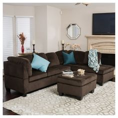 Looking for a stylish and comfortable seating option for your living room or guest area? Let this dark brown sectional provide you the luxurious experience you need. Featuring a design, this L-shaped sectional sofa is ideal for medium to lar Living Room Decor Apartment, Brown Furniture, Brown Furniture Living Room, Living Room Designs, Brown Living Room Decor, Brown And Blue Living Room, Living Room Paint, Brown Sectional Living Room, Brown Sofa Living Room