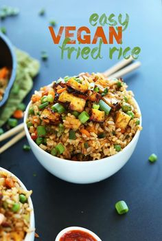 Vegan Fried Rice Minimalist Baker Recipes - Easy Vegan Fried Rice Loaded With Tender Vegetables Crispy Baked Tofu And Tons Of Flavor A Healthy Satisfying Plant Based Side Or Entree Veggie Recipes, Whole Food Recipes, Vegetarian Recipes, Healthy Recipes, Recipes Dinner, Recipes With Tofu Healthy, Shrimp Recipes, Vegan Brown Rice Recipes, Pasta Recipes