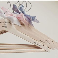 What do you think to these? @twostoriesgifts #personalizedgift #bride #bridesmaids #motherofthebride #groom #woodencoathanger