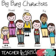 BIG BANG Theory Scientists Doodle Clipart!  BAZINGA!   Perfect for TpT sellers, classroom teachers and scrapbookers!  TeacherKarma.com