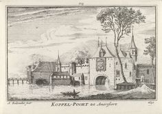 Abraham Rademaker | Koppelpoort te Amersfoort, Abraham Rademaker, Willem Barents, Antoni Schoonenburg, 1727 - 1733 | Gezicht op de Koppelpoort te Amersfoort in de situatie omstreeks 1640.