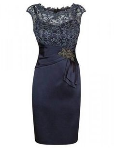 Elegant Short Cap Sleeves Navy Blue Mother of the Bride Dress · dreamdressy · Online Store Powered by Storenvy Mother Of Groom Dresses, Mothers Dresses, Mother Of The Bride, Mob Dresses, Bridesmaid Dresses, Bride Dresses, Wedding Party Dresses, Wedding Attire, Dress Party