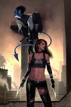 Nightcrawler and X23,By Jeff Dekal.