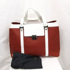 BVLGARI Auth 121092 Tote Bag Millerighe Red White Leather FS Excellent #7701 #BVLGARI #TotesShoppers