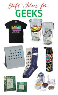 Gift Ideas For Geeks - awesome ideas for your favorite geek. Big Bang Theory, Star Wars, Dr Who, computers and more! Lots of great ideas.