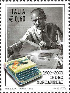 Italian postage stamp // G. Ieluzzo // 1909-2001 Indro Montanelli // Roma 2009 // #typewriter