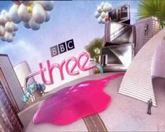 This BBC Three ident features some playful pink typography which aesthetic is not dissimilar to a liquid being slurped up and into a straw, which in this case is shaped like the 'three' logo. This typography is rounded which creates an atmosphere of fun and playfulness, which matches all of the other visuals present in the ident.