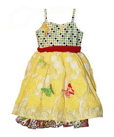 Loving this Bright Paloma A-Line Dress & Butterfly Pin Set - Toddler & Girls on #zulily! #zulilyfinds