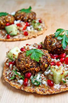 Quinoa Flatbread with Tabbouleh, Falafel, Feta and Pomegranate. Make it with brown rice flour for FMD