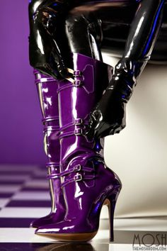 "😋""High Quality PU Buckle Pointed Toe Side Zipper Purple Boots, We have more styles for Knee High Boots😎 Platform High Heels, High Heel Boots, Heeled Boots, Bootie Boots, Women's Boots, Stiletto Boots, Purple Love, Shades Of Purple, Purple And Black"