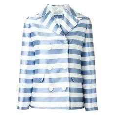 Vivetta Striped Blazer ❤ liked on Polyvore featuring outerwear, jackets, blazers, striped blazer, blue blazer, stripe jacket, blazer jacket and blue jackets