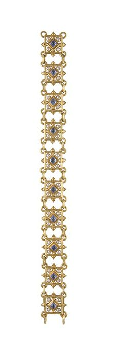 Bracelet in yellow gold set with sapphires and pearls,signed Castellani,Rome,circa 1880