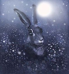 Winter Moon Hare by WildRushOfLove on Etsy, £18.00