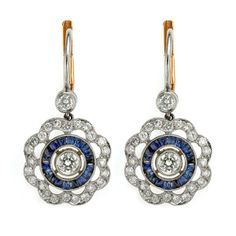Diamond and Sapphire Drop Earrings - Heming Jewellers London - Diamond Rings, Diamond Jewellery, Watches and Antiques.