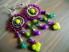 NEW Purple Green Boho Chic Mandala Long Chandelier by BijouxFan