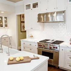 White Shaker KItchen Cabinets with Mini Subway Tile Backsplash