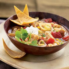 OMG......I can't believe I found my FAVORITE soup recipe!  Tortilla Chicken Soup from Health.com