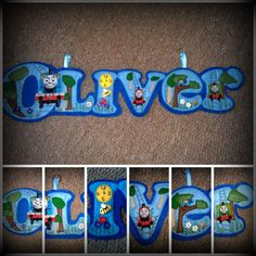 Oliver Name Banner made out of Blue Felt and decorated in a Thomas theme  https://www.facebook.com/AHeartlyCraft