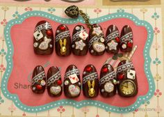 Gothic lolita egl deco nail 3D nail brown bunny cookie by Aya1gou