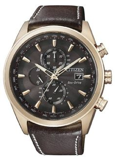 Citizen Herren-Armbanduhr XL Analog Quarz Leder AT8019-02W | Your #1 Source for Watches and Accessories