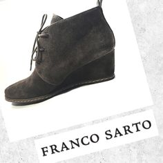 Franco Sarto Wedge Booties ✨ Brown Franco Sarto Wedge Booties ✨ Gently worn twice - in excellent condition! Franco Sarto Shoes Ankle Boots & Booties