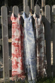 Toile de Jouy scarves on location in the Lower Leas Coastal Park, Folkestone, Kent.