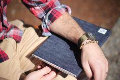 Raw selvedge denim iPad sleeve lined with heather grey wool.