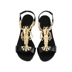 de08267f59ae7 E40233 001 Flat black nappa sandals with ankle strap and gold metal Lobster  jewel. Gz